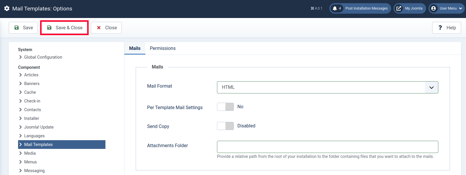 Save & Close HTML Templates in Joomla 4