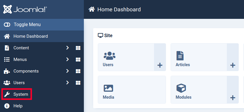 Accessing the System Menu in Joomla 4