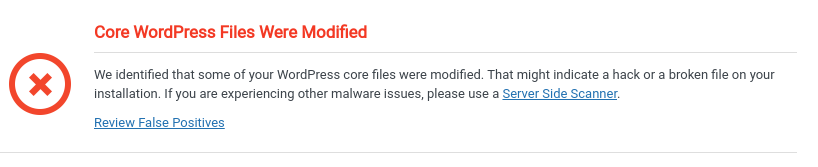 Core WordPress Files Were Modified - Remote Malware Scan