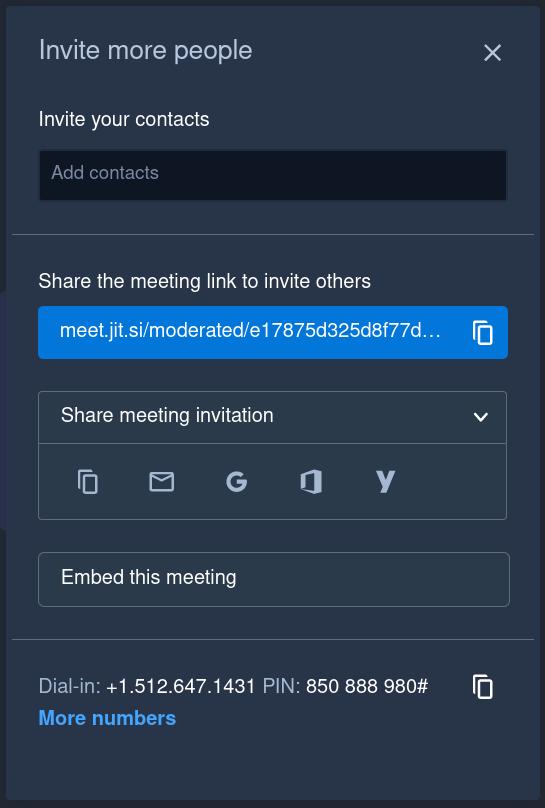 How to invite someone to Jitsi meeting
