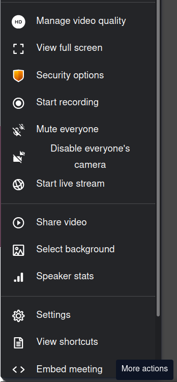 Jitsi settings for moderators