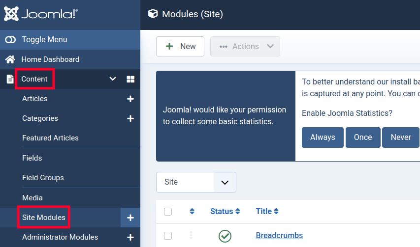 Accessing Site Modules Menu in Joomla 4