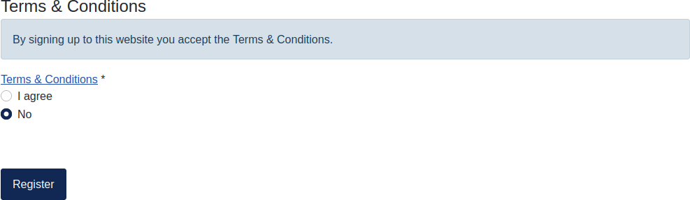 Joomla 4 Registration Terms and Conditions statement