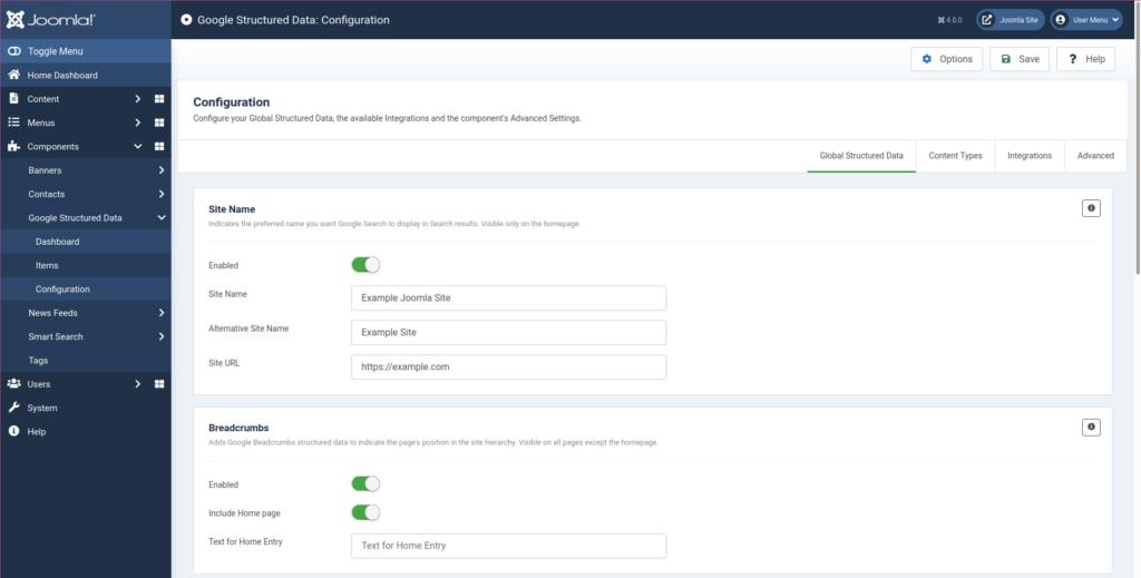 Joomla Schema plugin configuration
