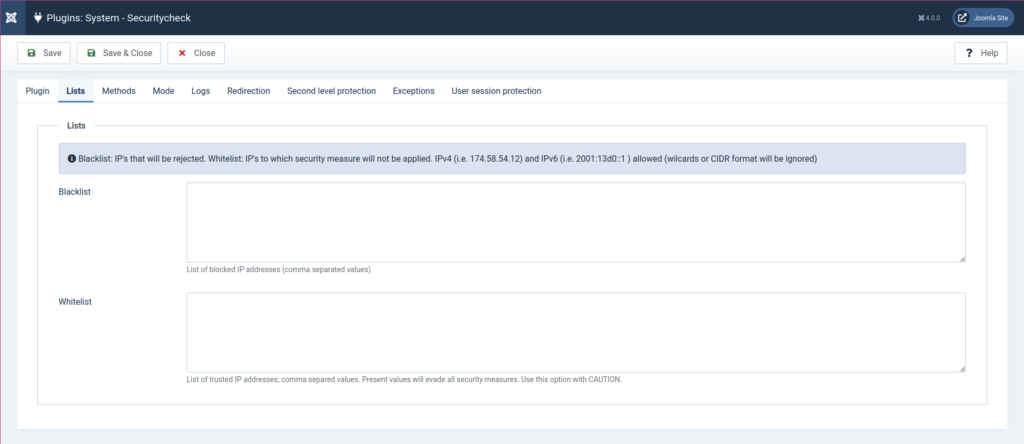 Joomla Securitycheck Blacklist and Whitelist