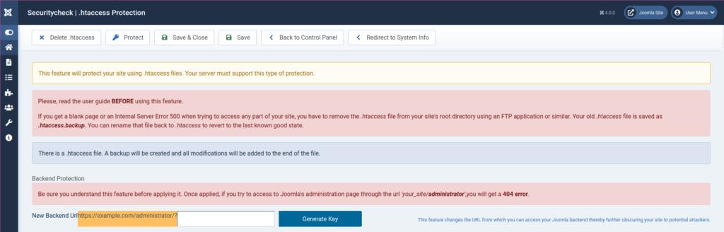 Joomla Securitycheck .htaccess Protection