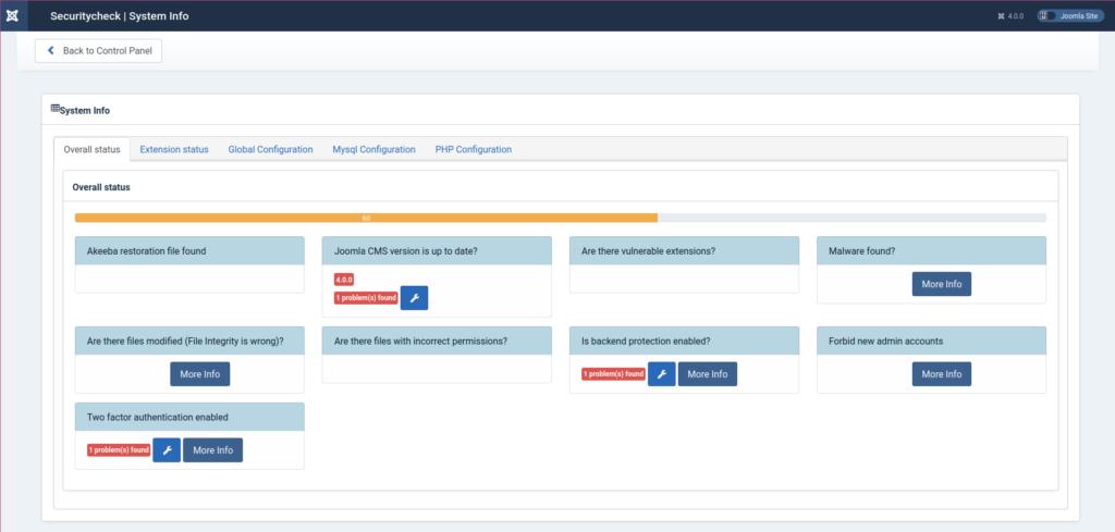 Joomla 4 Securitycheck System Info