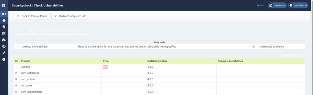 Joomla 4 Securitycheck Vulnerabilities