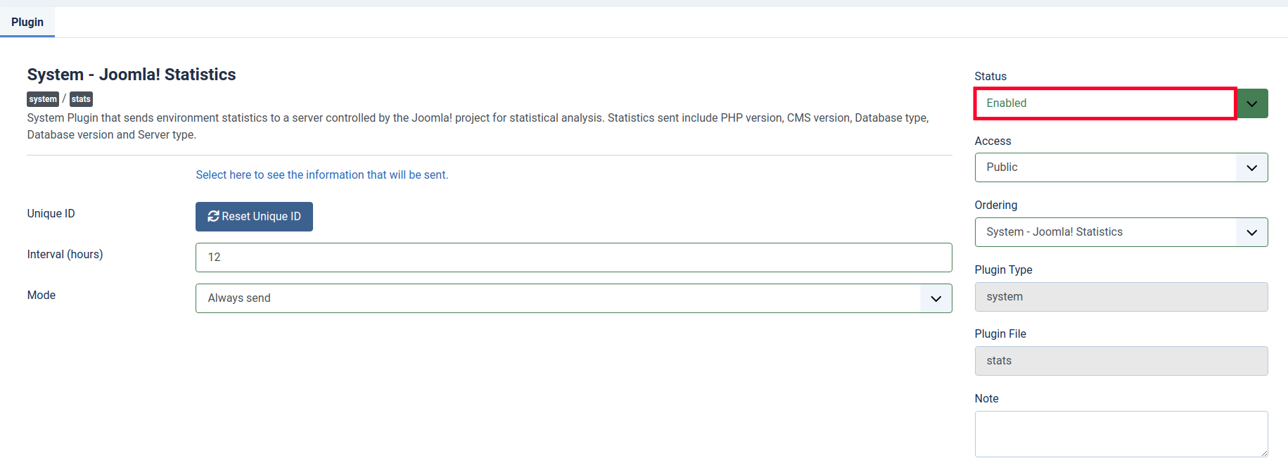 Enable or Disable Joomla 4 Statistics
