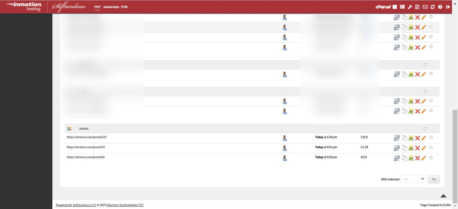 List of all installs in Joomla