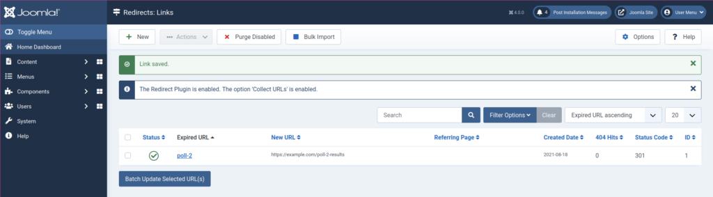 Joomla 4 Redirect Example