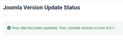 Upate Joomla 4 Status