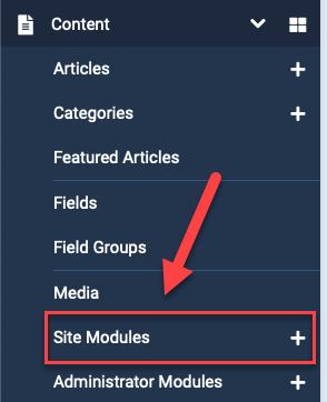 Joomla 4 site modules content