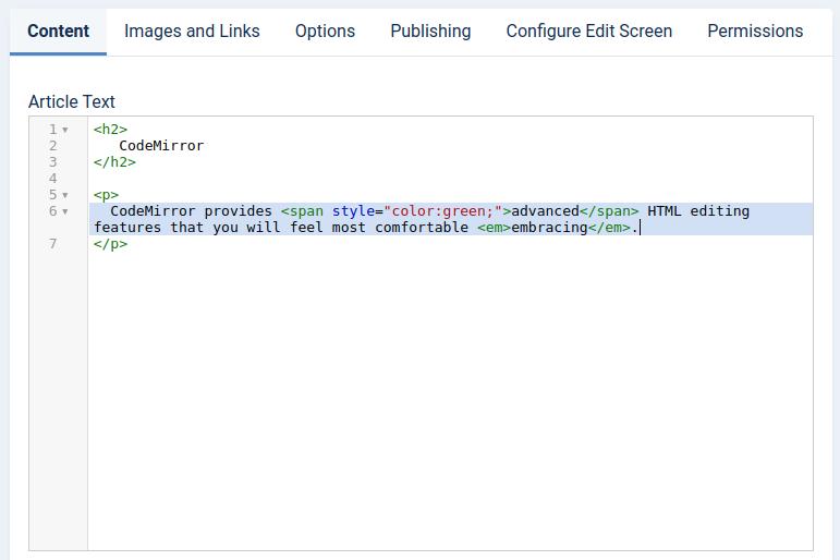 Joomla 4 CodeMirror editor