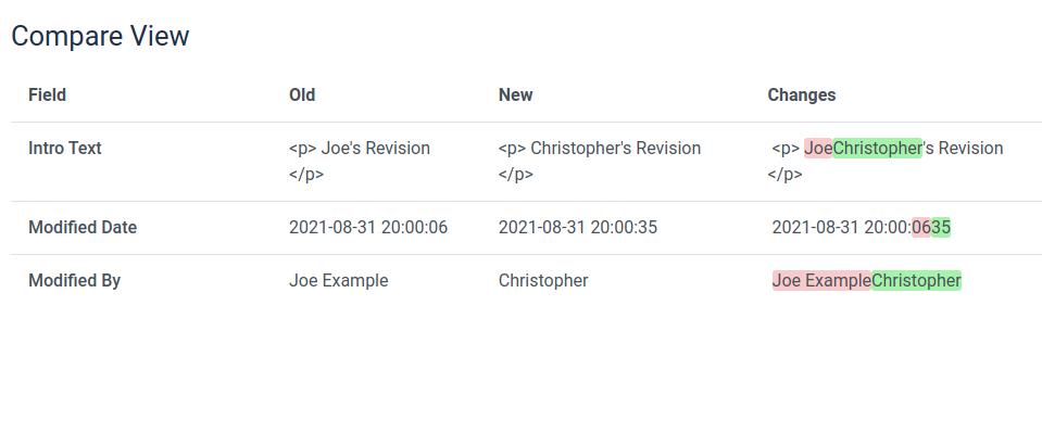Compare article revisions