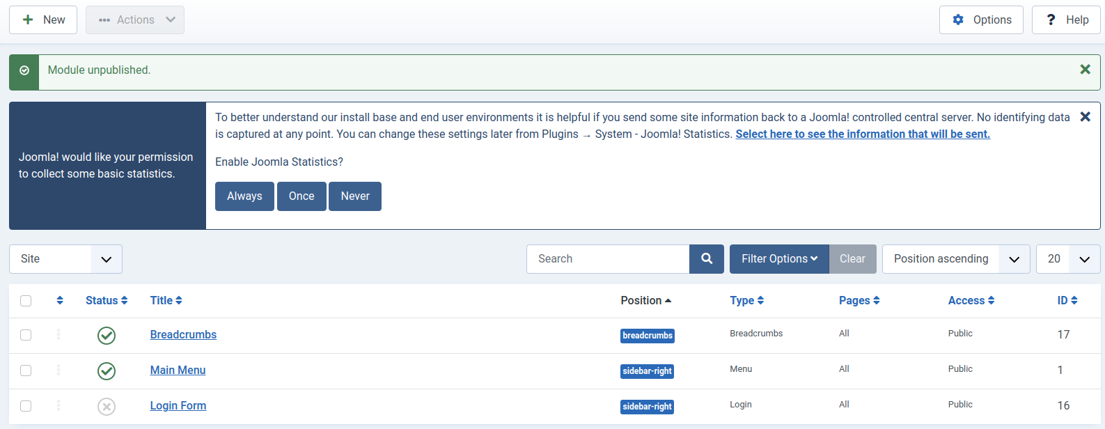 Joomla 4 Login Form Module has been Removed