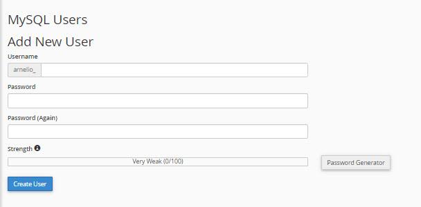 Create database user in cPanel