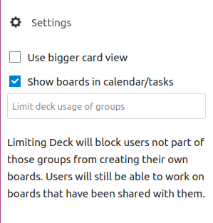 Nextcloud Deck settings options