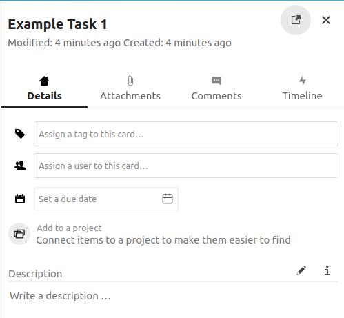 Nextcloud Deck task details section