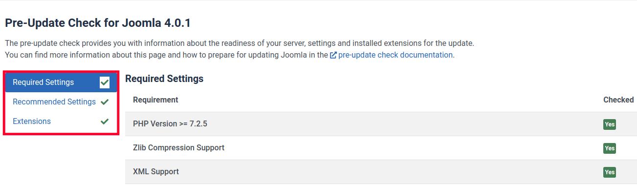 Joomla 4 Pre-Update Check