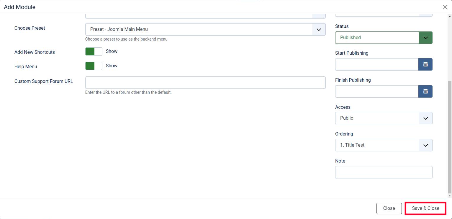 Save Your New Joomla Dashboard Module