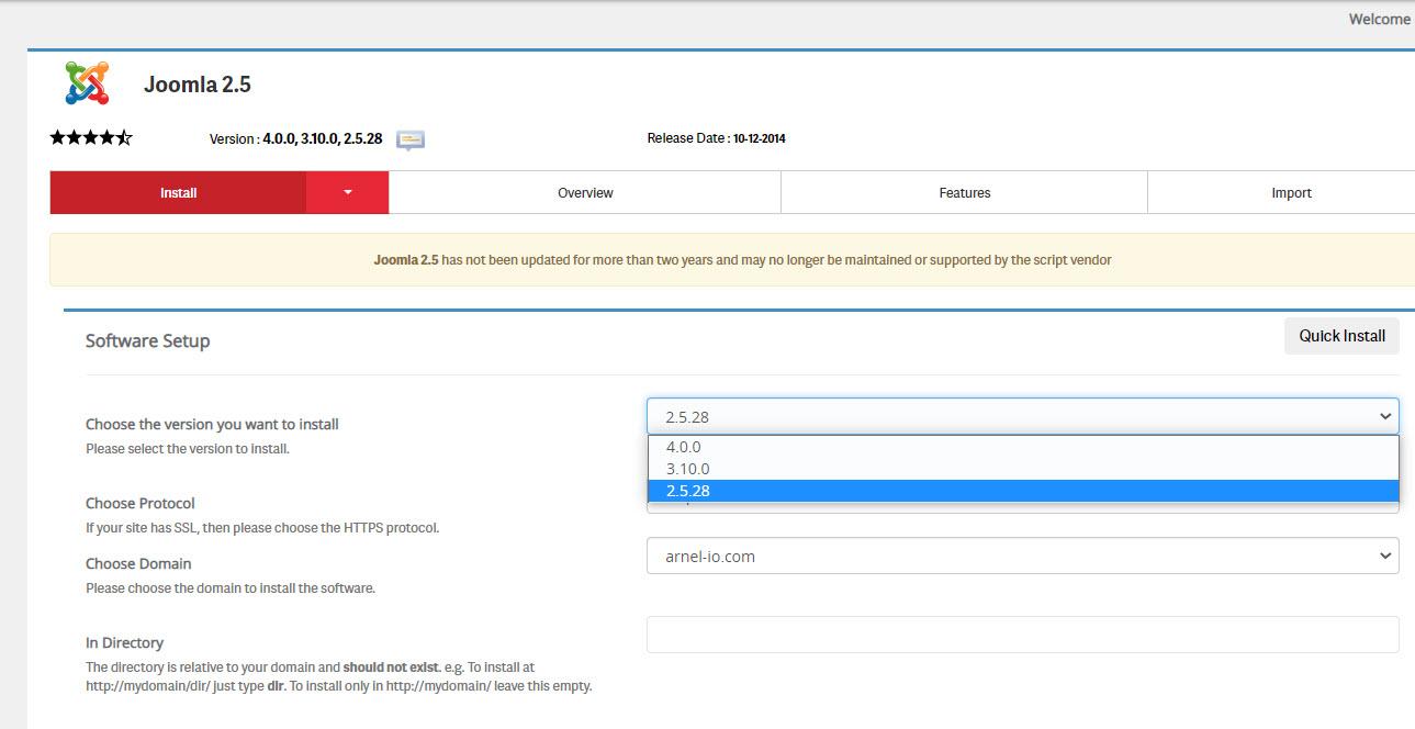 Select the Joomla version from drop-down menu