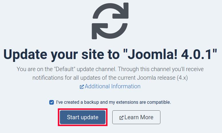 Start Joomla 4 Update