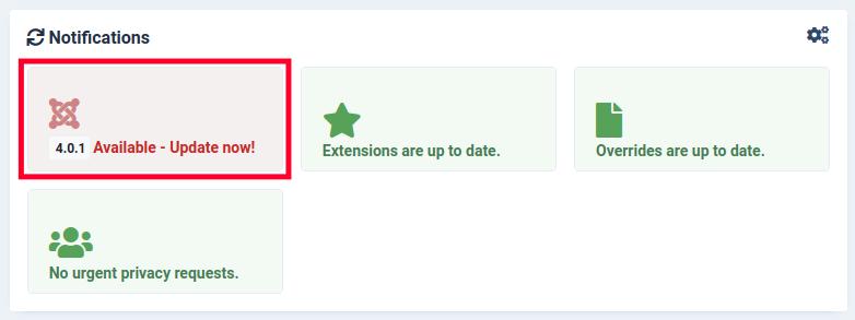 Notification - Update Joomla 4