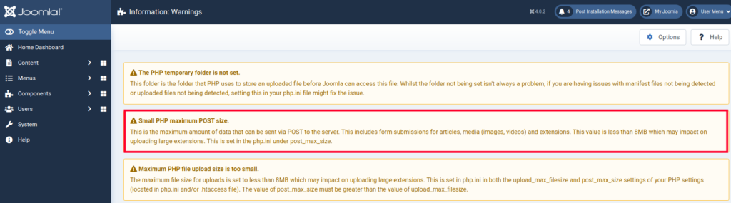 View of the Small PHP Maximum Post Size Warning