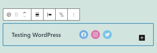 example nav block with social media icons