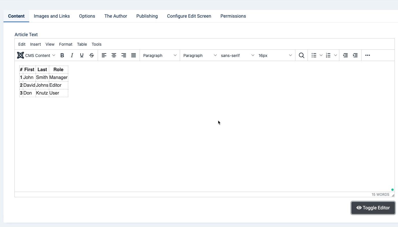 Basic table - visual editor