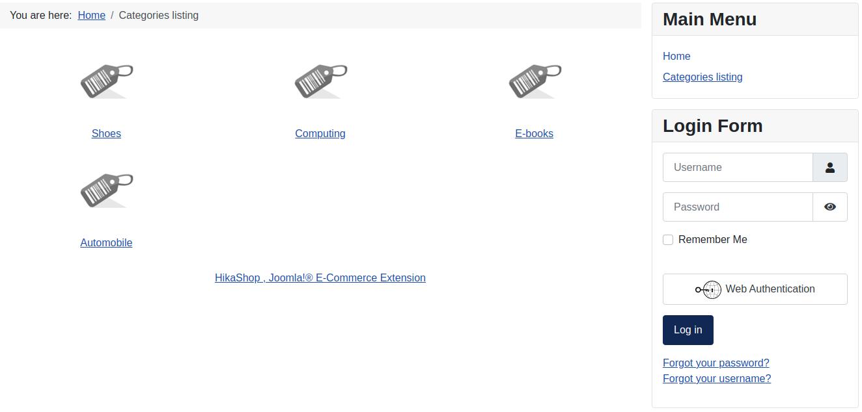Joomla 4 Categories Listing in HikaShop