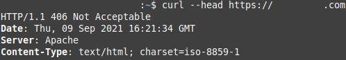"""""""curl --head"""" command results"""