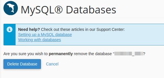Delete database confirmation