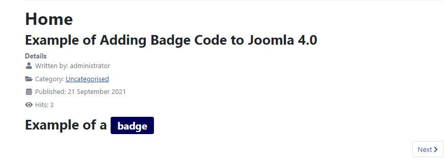 example of badge code using Joomla preview