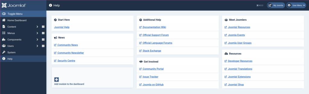 Joomla 4 Help page
