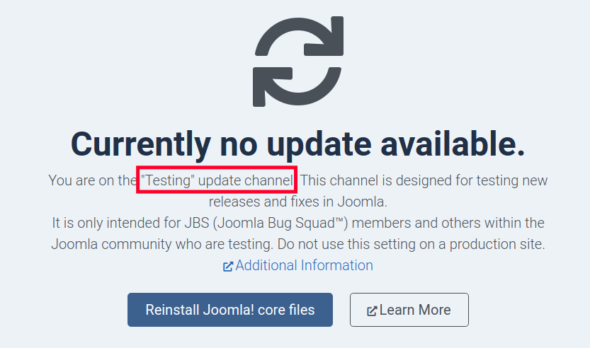 View of Update Channel Listing in Joomla 4