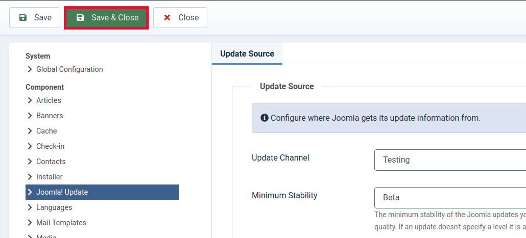 Save & Close Update Channel Setting in Joomla 4