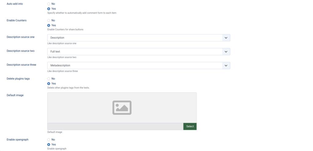 JL Like Joomla plugin settings
