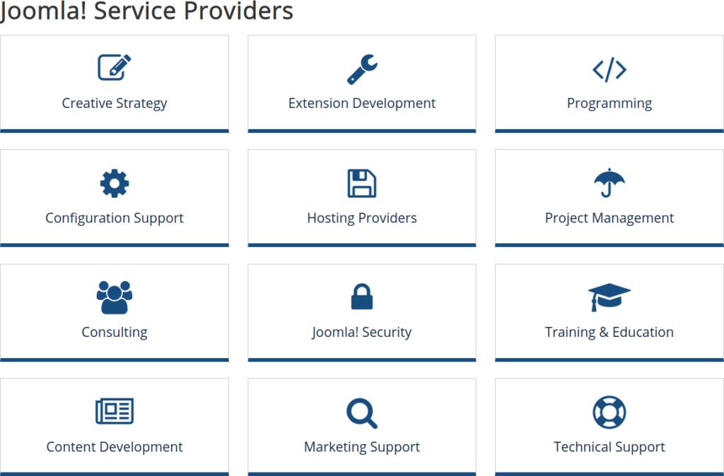Joomla! service providers page