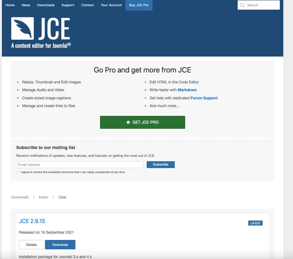 Joomla 4 JCE page