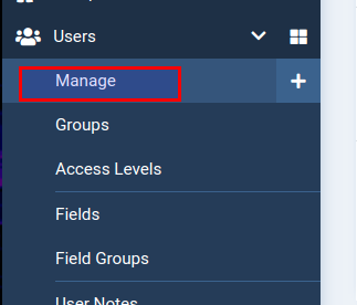 Click Manage