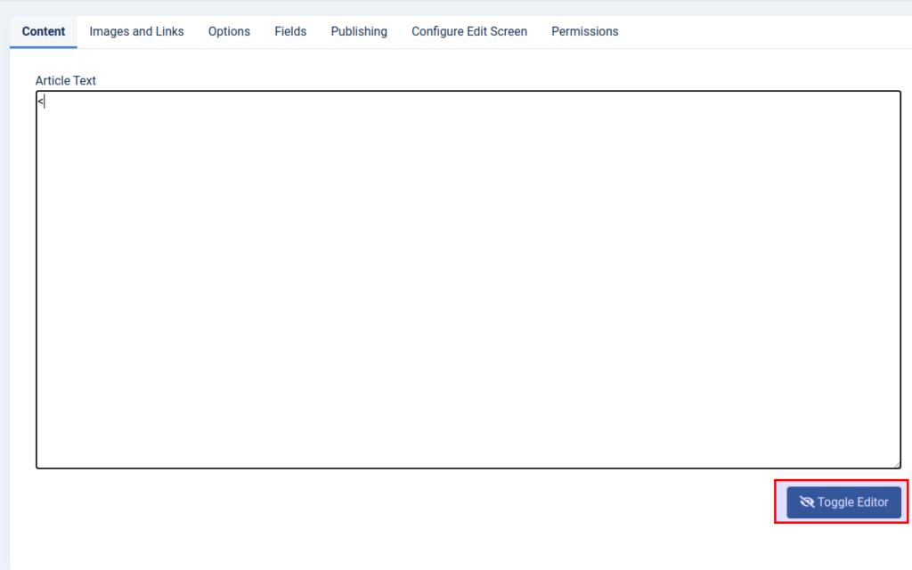 Toggle the HTML editor in Joomla 4 TinyMCE editor