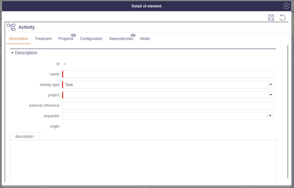 New ProjeQtOr Activity Description section