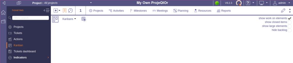 Empty ProjeQtOr kanbans section