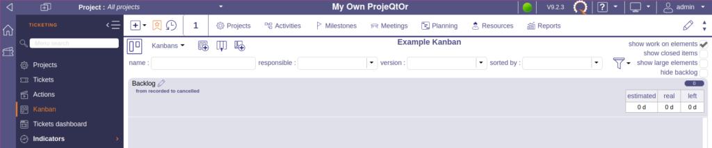 ProjeQtOr kanban with one column - backlog