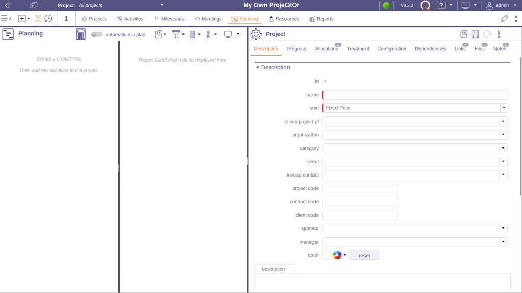 Create a new ProjeQtOr project