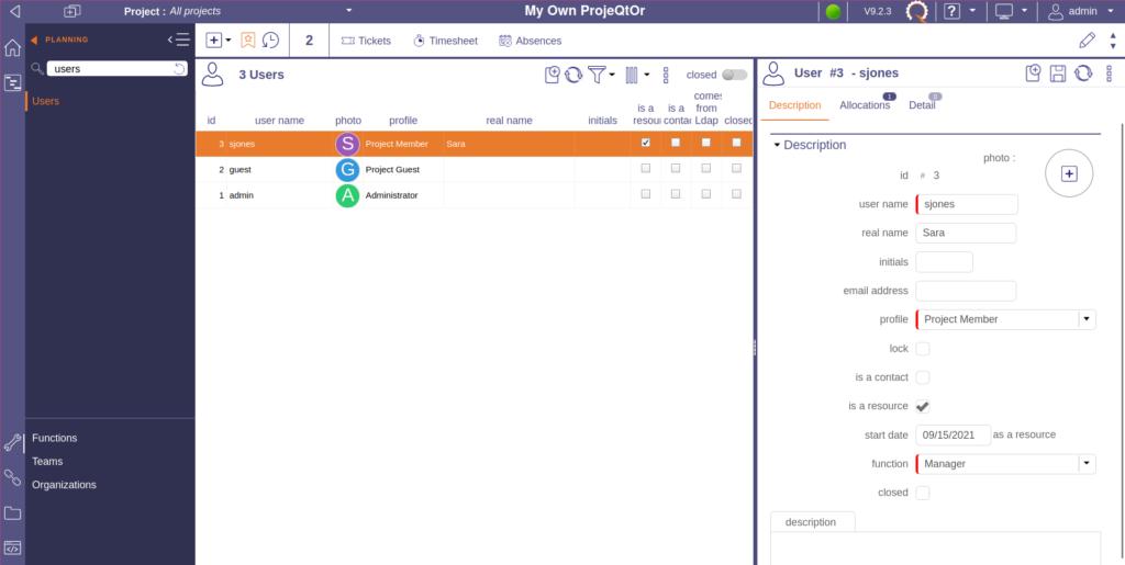 Create a new ProjeQtOr user