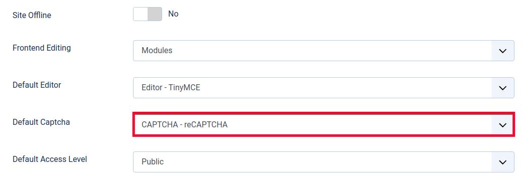 Choosing Default CAPTCHA for Joomla 4