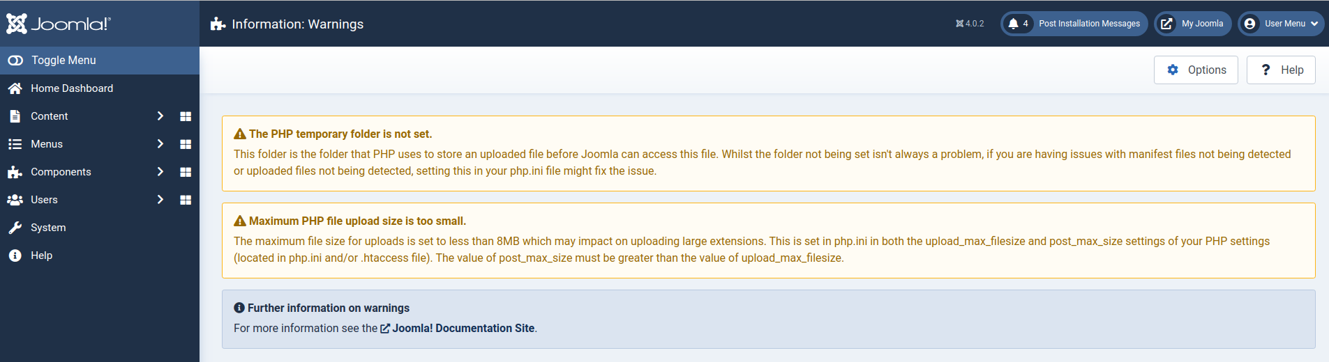 Small PHP Maximum Post Size Warning Gone
